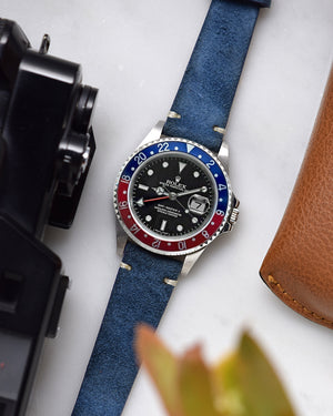 rolex pepsi Deep Blue Suede Watch Strap