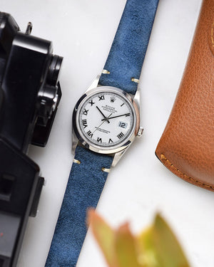 rolex datejust with Blue Suede Watch Strap