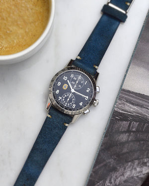 vintage chronograph on suede watch strap