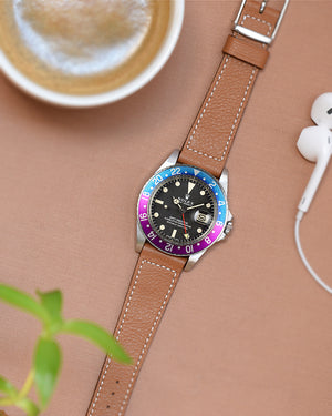 rolex fuchsia with Light Brown Boxed Stitch Watch Strap