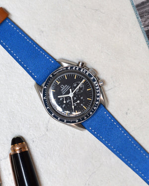 Blue Suede Watch Strap for omega speedmaster