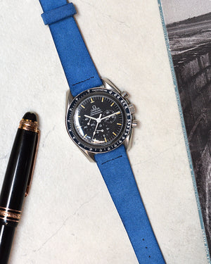 Sky Blue Suede Watch Strap for omega speedmaster
