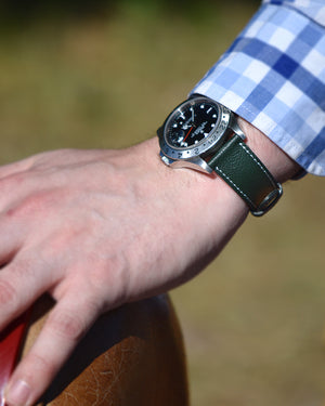 rolex explorer 2 and Green Leather Watch Strap