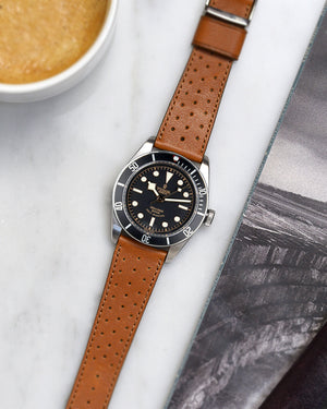 black bay black Brown Racing Leather Watch Strap
