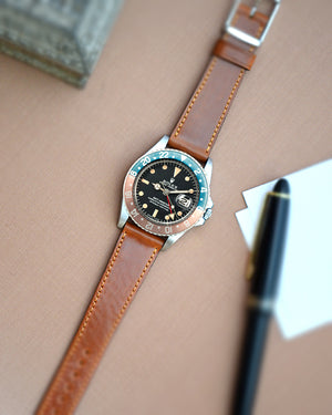 rolex GMt master 1675 with brown shell cordovan strap