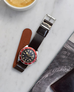 balck bay red Burgundy Single-Piece Shell Cordovan Watch Strap