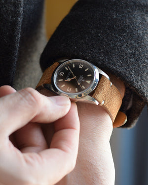 brown suede strap for rolex explorer I