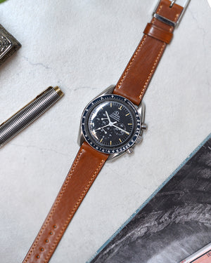 omega speedmater with Caramel Brown Shell Cordovan Watch Strap
