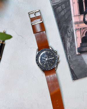 omega speedmaster with Caramel Brown Single-Piece Shell Cordovan Watch Strap