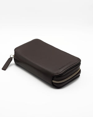 Dark Brown Leather Pouch for Two Watches
