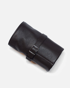 Dark Brown Leather Roll For Six Watches