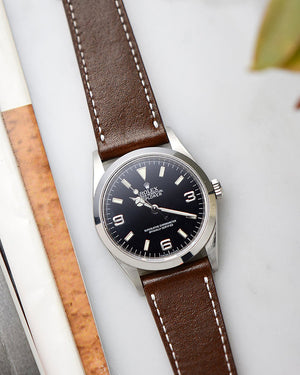 rolex explorer 1 Dark Brown Leather Watch Strap