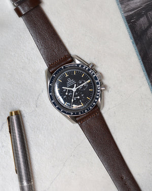 vintage omega speedmaster Dark Brown Leather Watch Strap