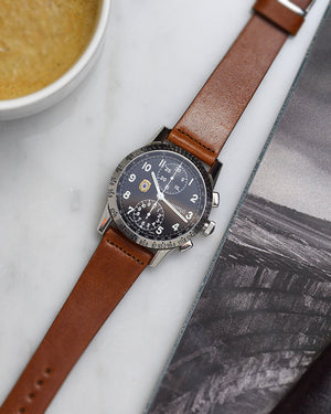 eberhard watch Faded Brown Leather Watch Strap