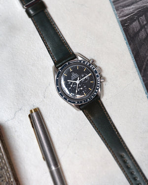 omega with Green Contrast Stitch Shell Cordovan Watch Strap