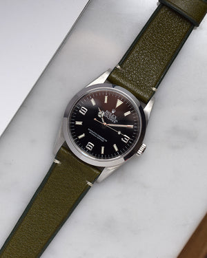 Rolex Explorer 114270 on green strap