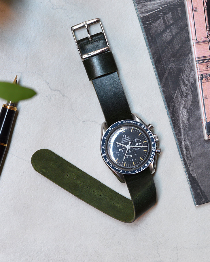 Green Single-Piece Shell Cordovan Watch Strap