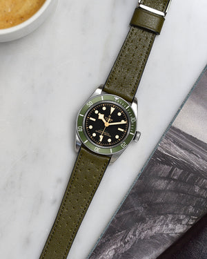 tudor harrods green leather strap