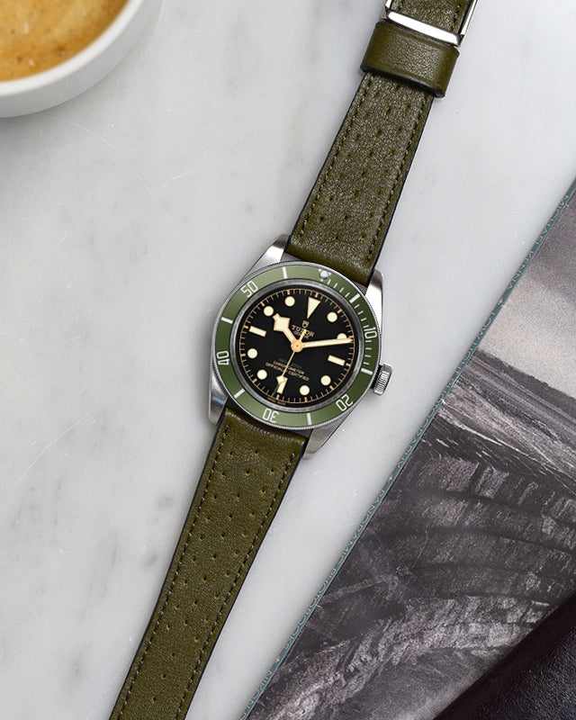 Olive Green Racing Leather Watch Strap