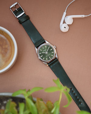 green rolex datejust with Green Shell Cordovan Watch Strap