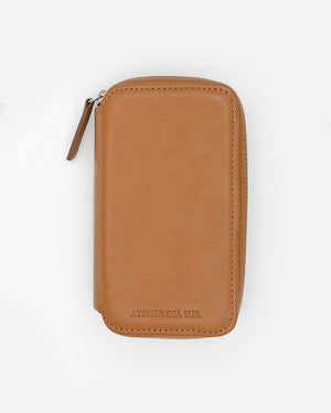 Honey Brown Leather Pouch for Two Watches