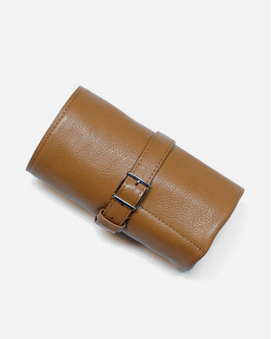 Honey Brown Leather Roll For Six Watches