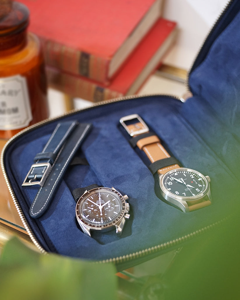 Blue Leather Case For Four Watches