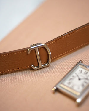 Light Brown Calfskin Strap for Cartier Deployant