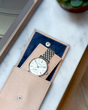Light Taupe Leather Watch Pouch