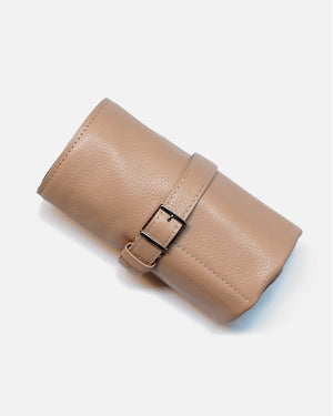 Light Taupe Leather Roll For Six Watches
