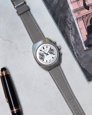 breitling vintage on Grey Leather Watch Strap
