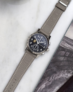 chronograph with Light Grey Leather Watch Strap