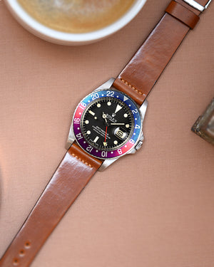 rolex pepsi Natural Brown Leather Watch Strap