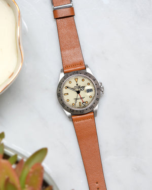 rolex polar with brown leather watch strap