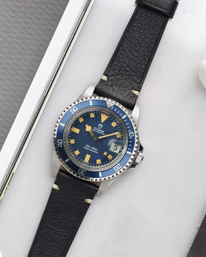 Smooth Black Minimal Stitch Watch Strap for tudor snowflake