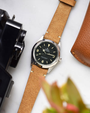 roles 1016 Camel Brown Suede Watch Strap