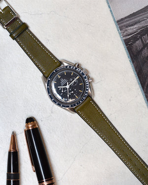 omega Olive Green Calfskin Watch Strap