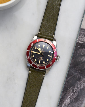 Olive Green Minimal Stitch Watch Strap