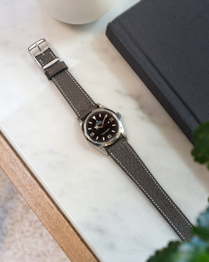 Structured Grey Leather Watch Strap