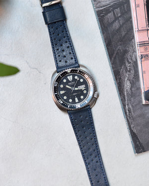 seiko Blue Racing Leather Watch Strap