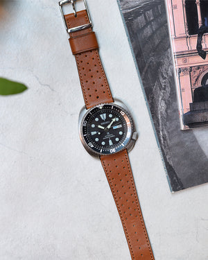 seiko turtle Brown Racing Leather Watch Strap