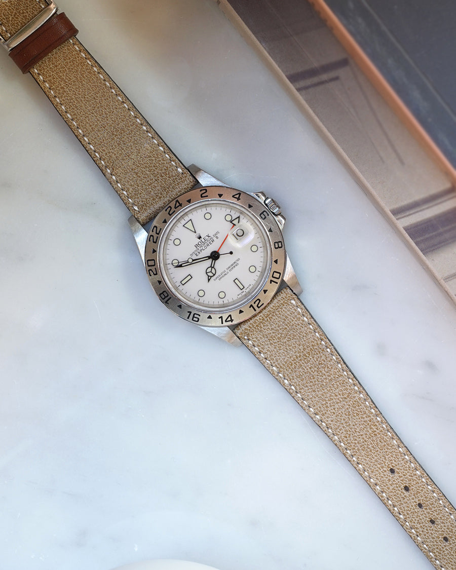 aged moss green strap