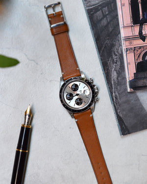 tudor tiger Smooth Caramel Brown Leather Watch Strap
