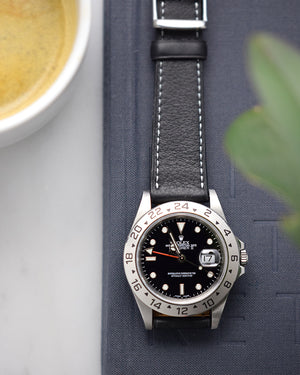 rolex explorer 16570 and black leather strap