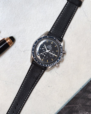 Black Leather Watch Strap for omega speedmaster