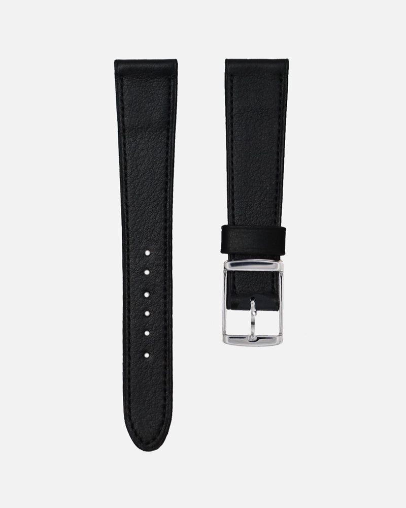 Black Leather Matching stitch Watch Strap