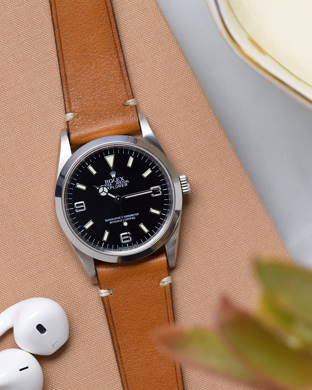Caramel Brown Minimal Stitch Watch Strap
