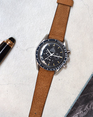 Suede Brown Watch Strap for omega moonwatch