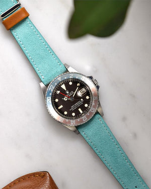 Suede Turquoise Watch Strap and rolex pepsi