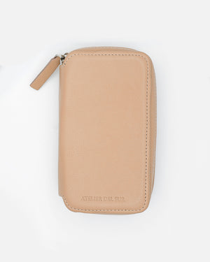Light Taupe Leather Pouch for Two Watches